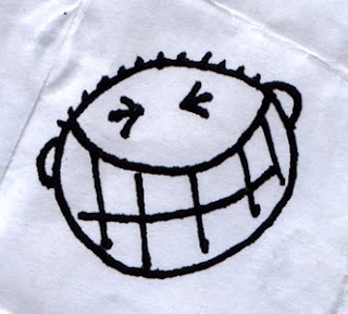 Big cheesy grin on napkin
