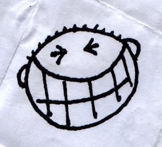 Big cheesy grin on napkin